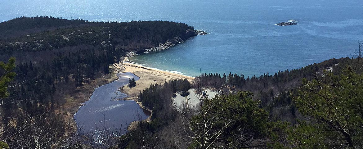 Sand Beach viewed from The Beehive in Acadia
