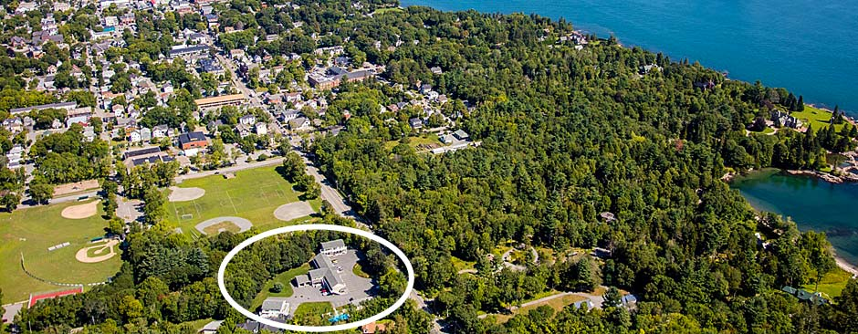 Aerial View of Cromwell Harbor Motel in Bar Harbor